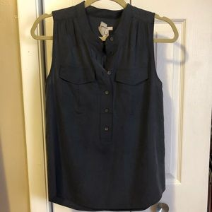 J Crew Navy Silk Sleeveless Tank Sz 2
